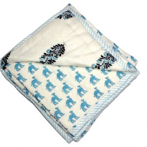 Natural Cotton Quilt – Camel Blue