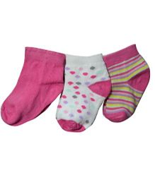Super SOft  Organic Cotton Girls Socks Pack Of 3-Size 0-6 Months