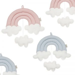 Hanging Pink Rainbow With clouds –  Handcrafted