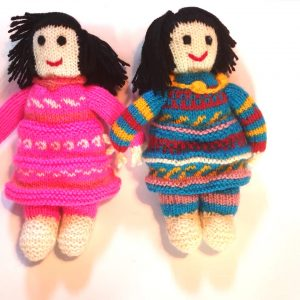 Hand Knitted Dolls Anna and Elsa
