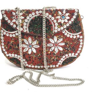 Red Stone Mosaic Clutches/ Purse