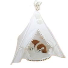 Pet White Teepee with Mat