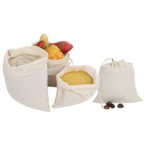 Earth Friendly Cotton Drawstrings Bag 5pc-Set