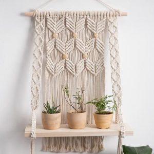 Macrame Boho Wall Hanging Shelf